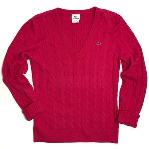 Lacoste Hot Pink Cable Knit V-Neck Sweater